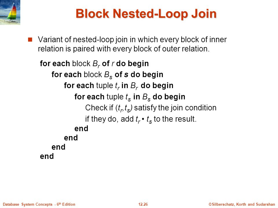 ©Silberschatz, Korth and Sudarshan12.26Database System Concepts - 6 th Edition Block Nested-Loop Join Variant of nested-loop join in which every block of inner relation is paired with every block of outer relation.