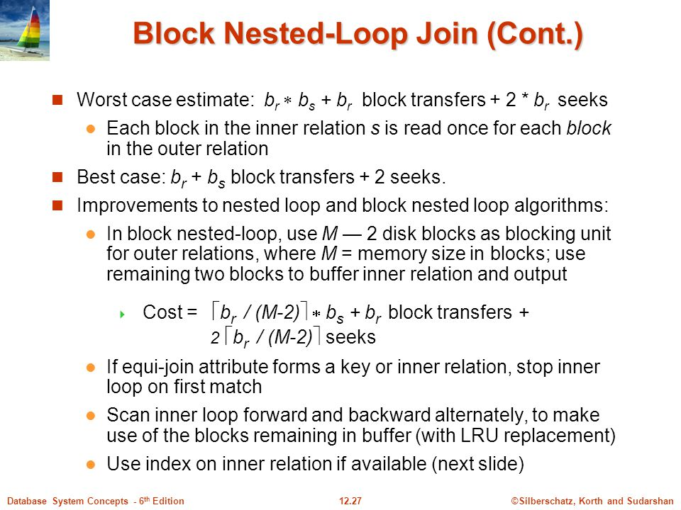 ©Silberschatz, Korth and Sudarshan12.27Database System Concepts - 6 th Edition Block Nested-Loop Join (Cont.) Worst case estimate: b r  b s + b r block transfers + 2 * b r seeks Each block in the inner relation s is read once for each block in the outer relation Best case: b r + b s block transfers + 2 seeks.