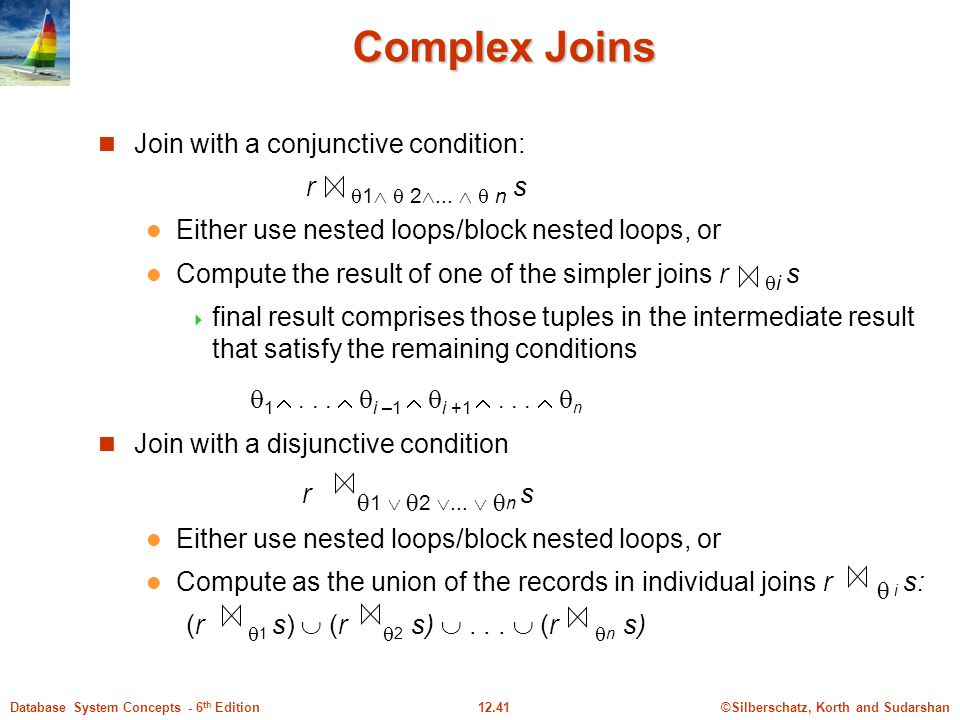 ©Silberschatz, Korth and Sudarshan12.41Database System Concepts - 6 th Edition Complex Joins Join with a conjunctive condition: r  1   2 ...