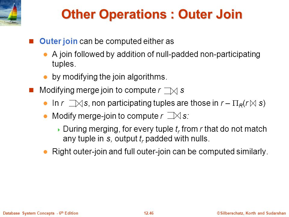 ©Silberschatz, Korth and Sudarshan12.46Database System Concepts - 6 th Edition Other Operations : Outer Join Outer join can be computed either as A join followed by addition of null-padded non-participating tuples.