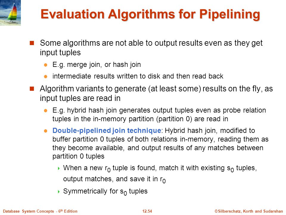 ©Silberschatz, Korth and Sudarshan12.54Database System Concepts - 6 th Edition Evaluation Algorithms for Pipelining Some algorithms are not able to output results even as they get input tuples E.g.
