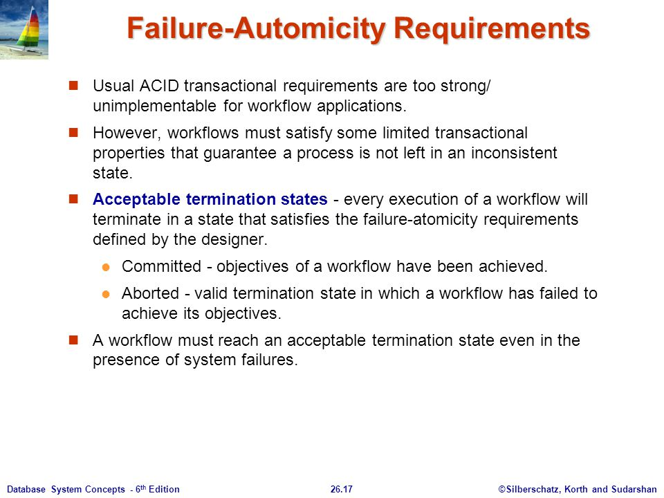 ©Silberschatz, Korth and Sudarshan26.17Database System Concepts - 6 th Edition Failure-Automicity Requirements Usual ACID transactional requirements a