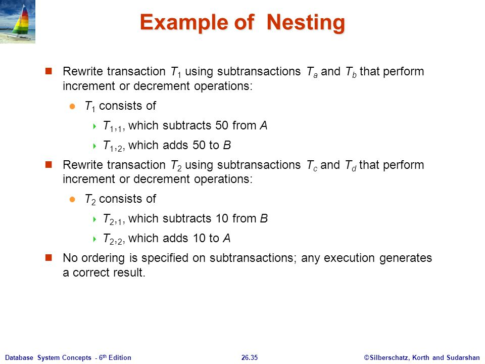 ©Silberschatz, Korth and Sudarshan26.35Database System Concepts - 6 th Edition Example of Nesting Rewrite transaction T 1 using subtransactions T a an