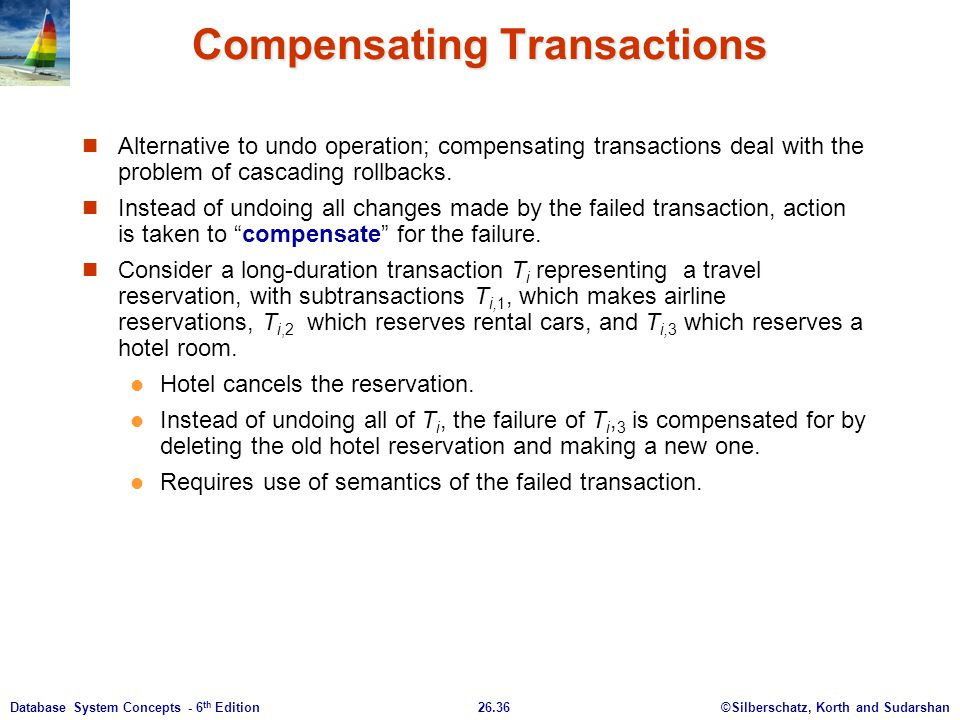 ©Silberschatz, Korth and Sudarshan26.36Database System Concepts - 6 th Edition Compensating Transactions Alternative to undo operation; compensating t
