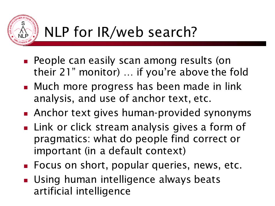 NLP for IR/web search.