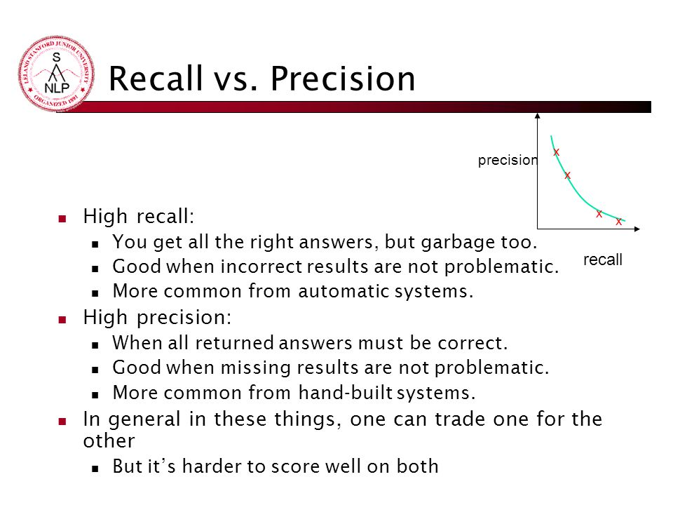 Recall vs. Precision High recall: You get all the right answers, but garbage too. Good when incorrect results are not problematic. More common from au
