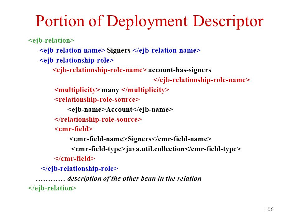 106 Portion of Deployment Descriptor Signers account-has-signers many Account Signers java.util.collection ………… description of the other bean in the relation