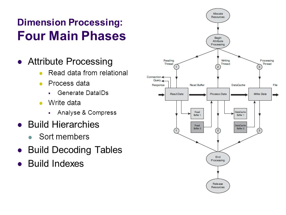 Dimension Processing: Four Main Phases Attribute Processing Read data from relational Process data  Generate DataIDs Write data  Analyse & Compress Build Hierarchies Sort members Build Decoding Tables Build Indexes