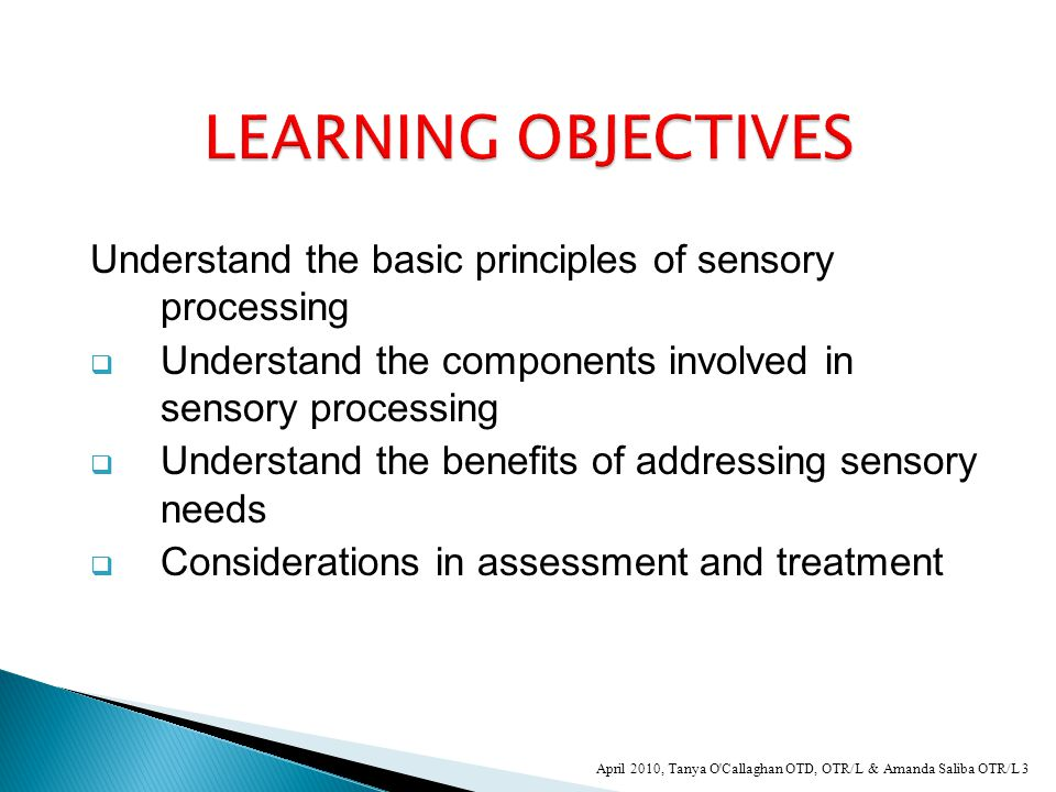 Understand the basic principles of sensory processing  Understand the components involved in sensory processing  Understand the benefits of addressing sensory needs  Considerations in assessment and treatment 3 April 2010, Tanya O Callaghan OTD, OTR/L & Amanda Saliba OTR/L