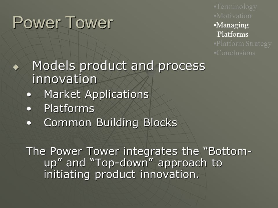 Power Tower  Models product and process innovation Market ApplicationsMarket Applications PlatformsPlatforms Common Building BlocksCommon Building Blocks The Power Tower integrates the Bottom- up and Top-down approach to initiating product innovation.