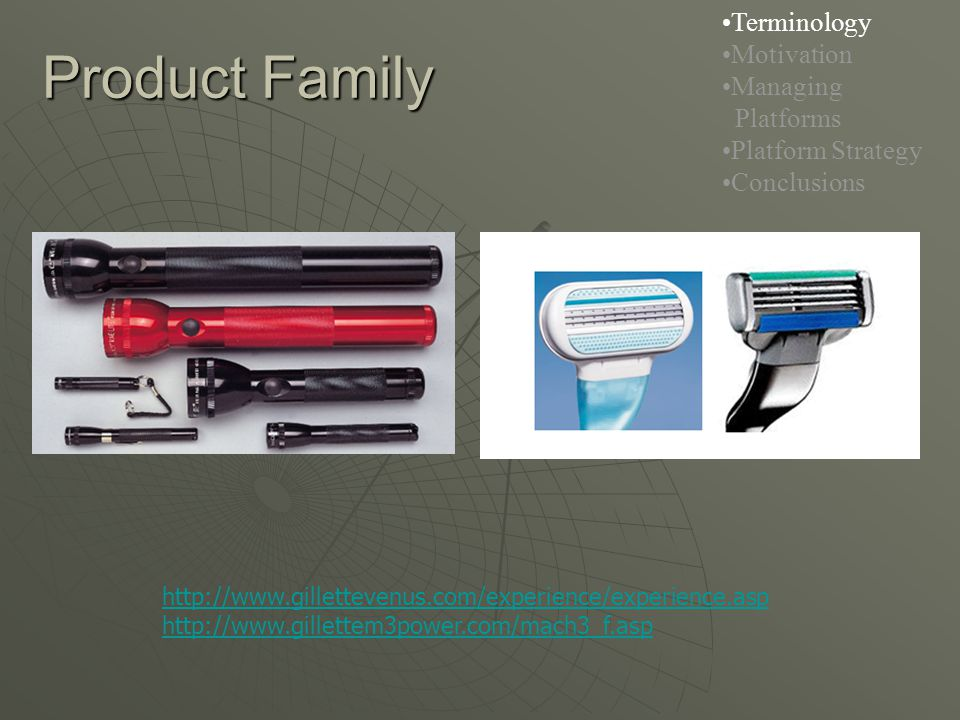 Product Family http://www.gillettevenus.com/experience/experience.asp http://www.gillettem3power.com/mach3_f.asp Terminology Motivation Managing Platforms Platform Strategy Conclusions