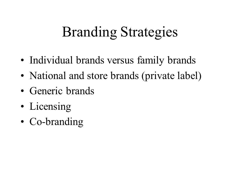 Branding Strategies Individual brands versus family brands National and store brands (private label) Generic brands Licensing Co-branding