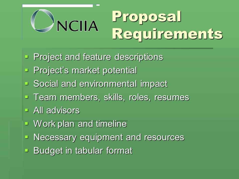 Proposal Requirements Proposal Requirements  Project and feature descriptions  Project's market potential  Social and environmental impact  Team members, skills, roles, resumes  All advisors  Work plan and timeline  Necessary equipment and resources  Budget in tabular format