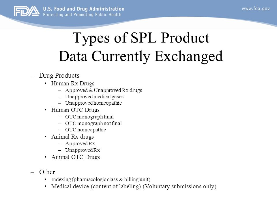 Types of SPL Product Data Currently Exchanged –Drug Products Human Rx Drugs –Approved & Unapproved Rx drugs –Unapproved medical gases –Unapproved homeopathic Human OTC Drugs –OTC monograph final –OTC monograph not final –OTC homeopathic Animal Rx drugs –Approved Rx –Unapproved Rx Animal OTC Drugs –Other Indexing (pharmacologic class & billing unit) Medical device (content of labeling) (Voluntary submissions only)