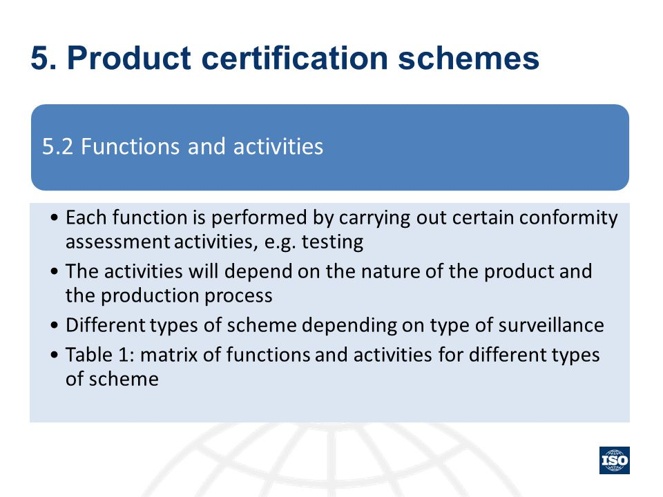 5. Product certification schemes 5.2 Functions and activities Each function is performed by carrying out certain conformity assessment activities, e.g