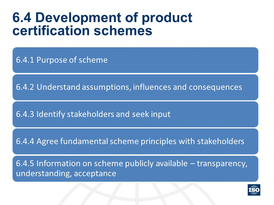 6.4 Development of product certification schemes 6.4.1 Purpose of scheme6.4.2 Understand assumptions, influences and consequences6.4.3 Identify stakeh