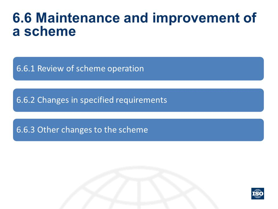 6.6 Maintenance and improvement of a scheme 6.6.1 Review of scheme operation 6.6.2 Changes in specified requirements 6.6.3 Other changes to the scheme