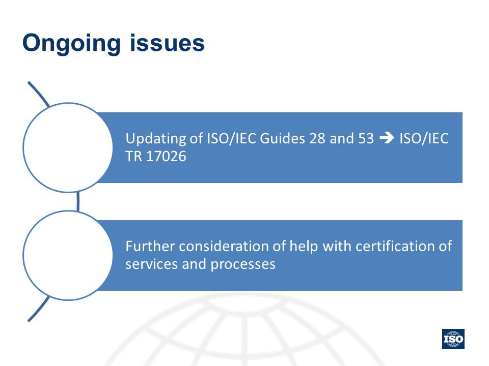 Ongoing issues Updating of ISO/IEC Guides 28 and 53  ISO/IEC TR 17026 Further consideration of help with certification of services and processes