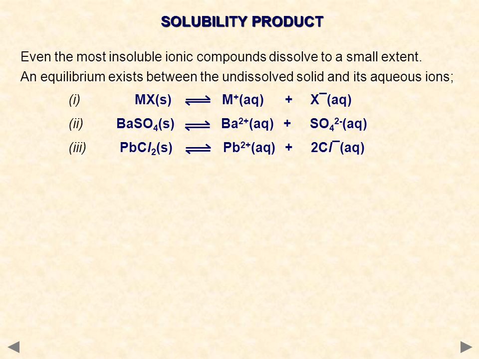 SOLUBILITY PRODUCT Even the most insoluble ionic compounds dissolve to a small extent.