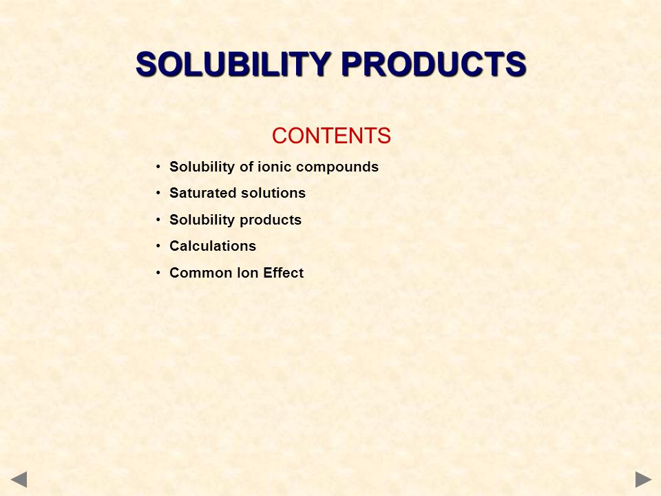 SOLUBILITY OF IONIC COMPOUNDS ionic compounds tend to be insoluble in non-polar solvents ionic compounds tend to be soluble in water water is a polar solvent and stabilises the separated ions