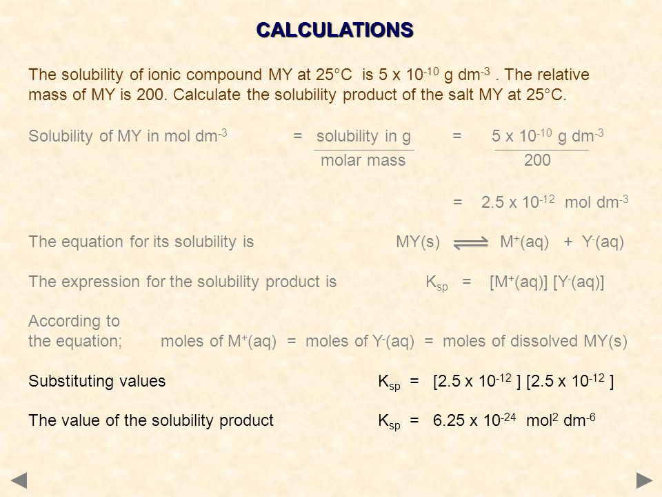 CALCULATIONS The solubility of ionic compound MY at 25°C is 5 x 10 -10 g dm -3.