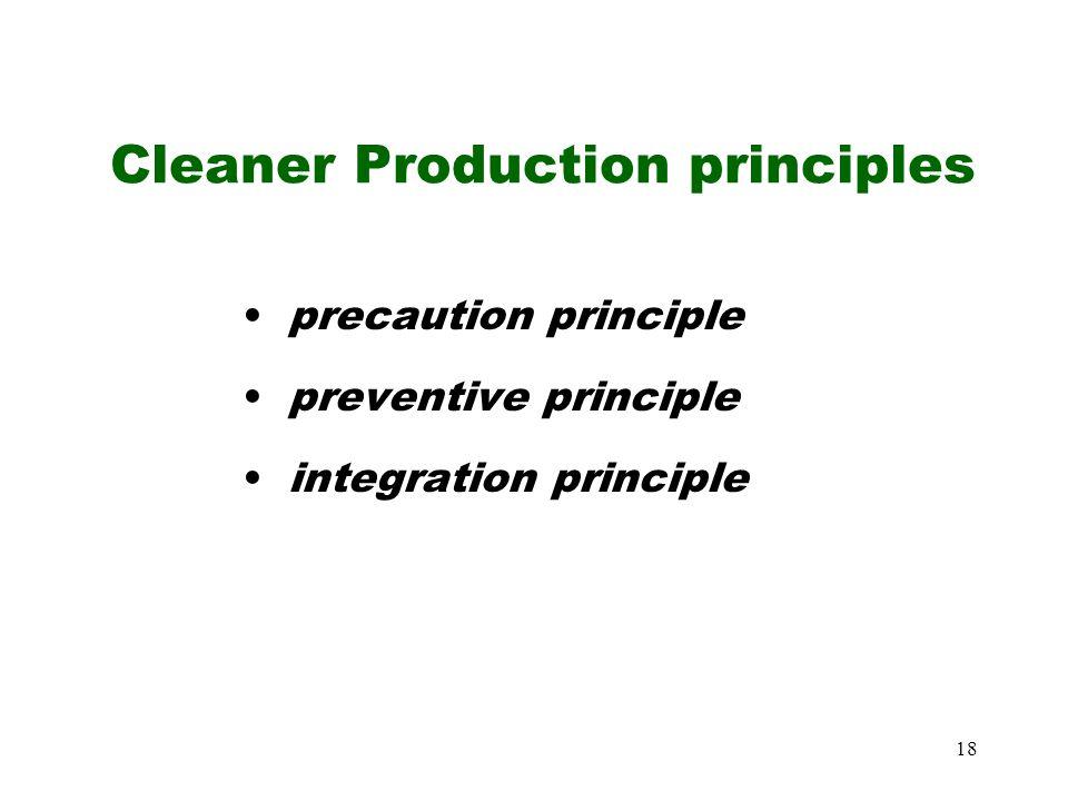18 Cleaner Production principles precaution principle preventive principle integration principle