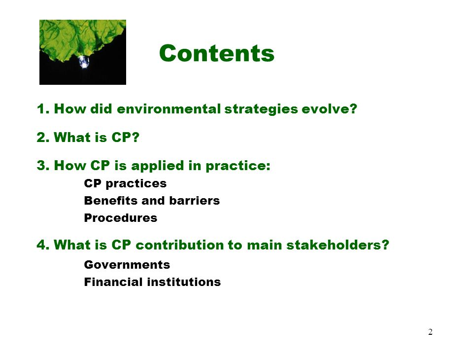 2 Contents 1.How did environmental strategies evolve.