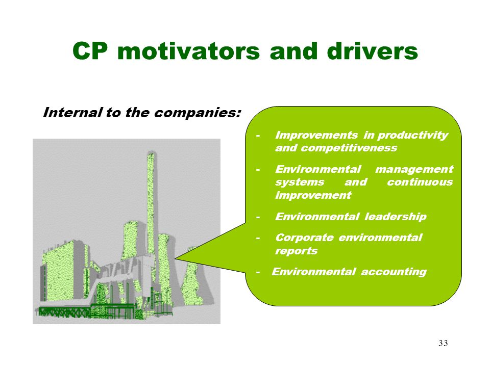 33 CP motivators and drivers Internal to the companies: - Improvements in productivity and competitiveness -Environmental management systems and continuous improvement -Environmental leadership -Corporate environmental reports - Environmental accounting