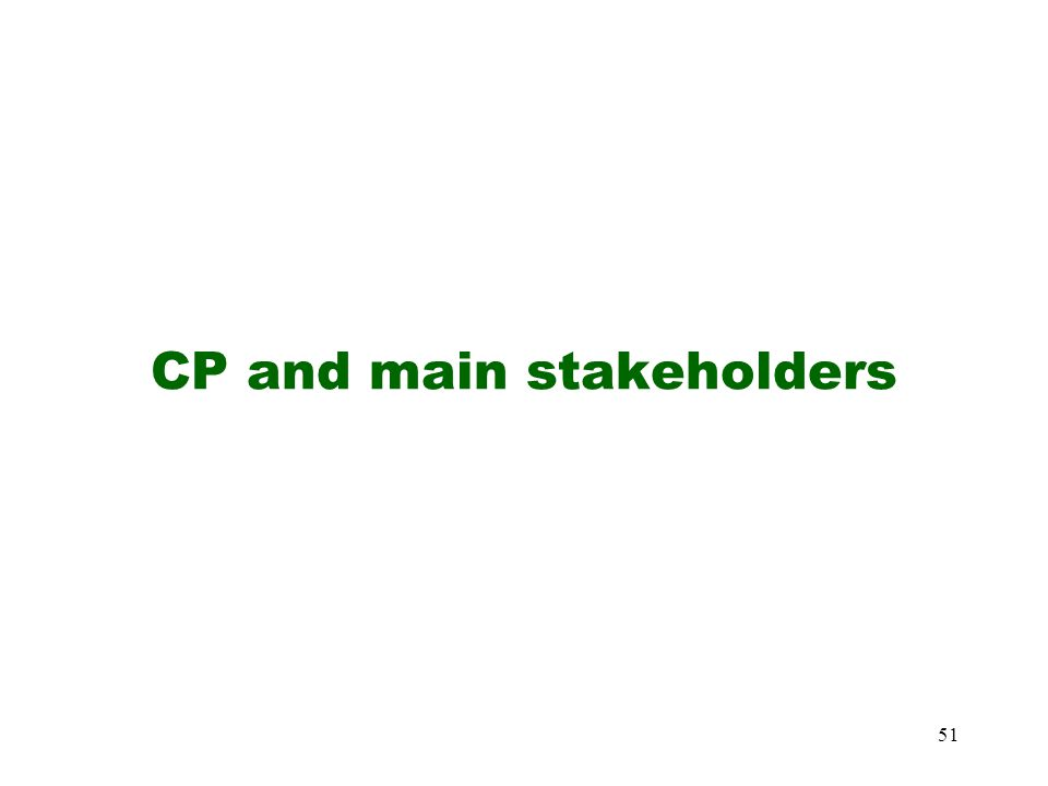51 CP and main stakeholders