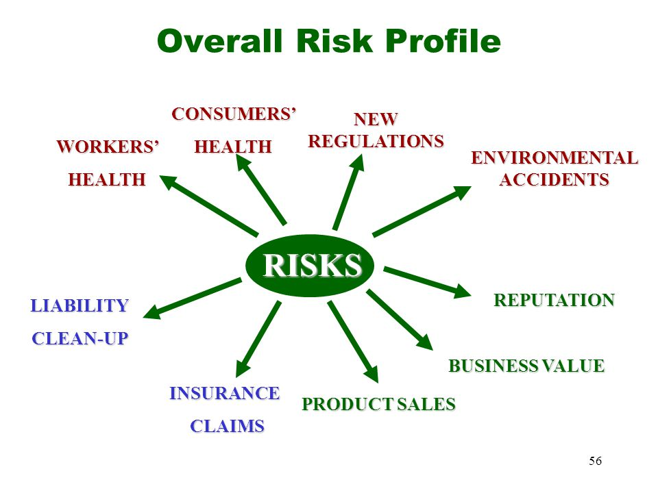56 Overall Risk ProfileRISKS ENVIRONMENTAL ACCIDENTS WORKERS'HEALTH CONSUMERS'HEALTH NEW REGULATIONS REPUTATION BUSINESS VALUE INSURANCE CLAIMS CLAIMS LIABILITYCLEAN-UP PRODUCT SALES