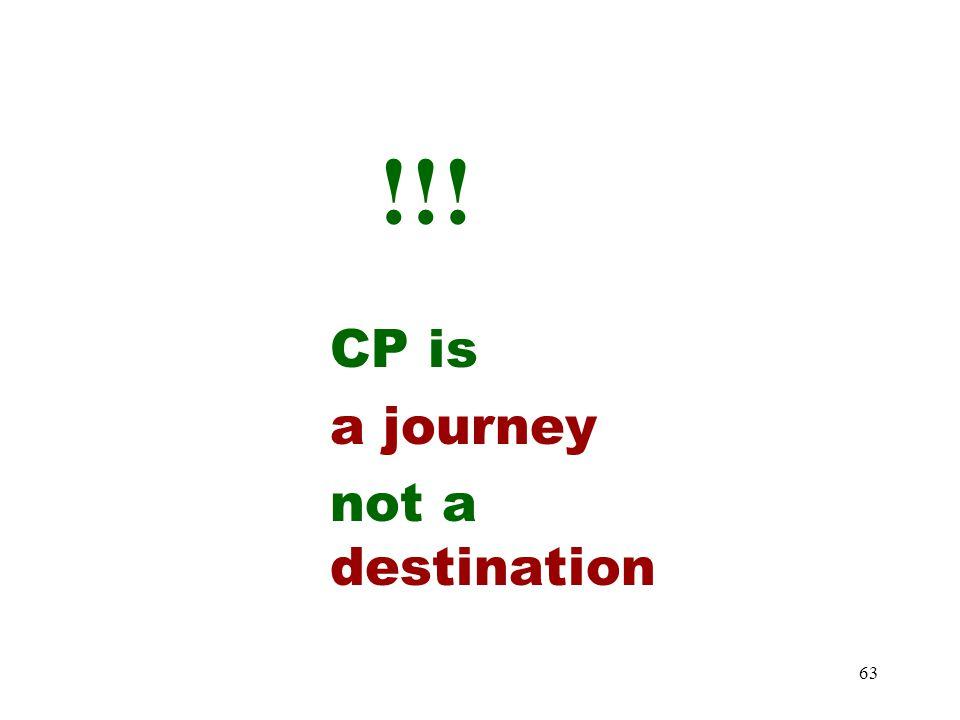 63 !!! CP is a journey not a destination