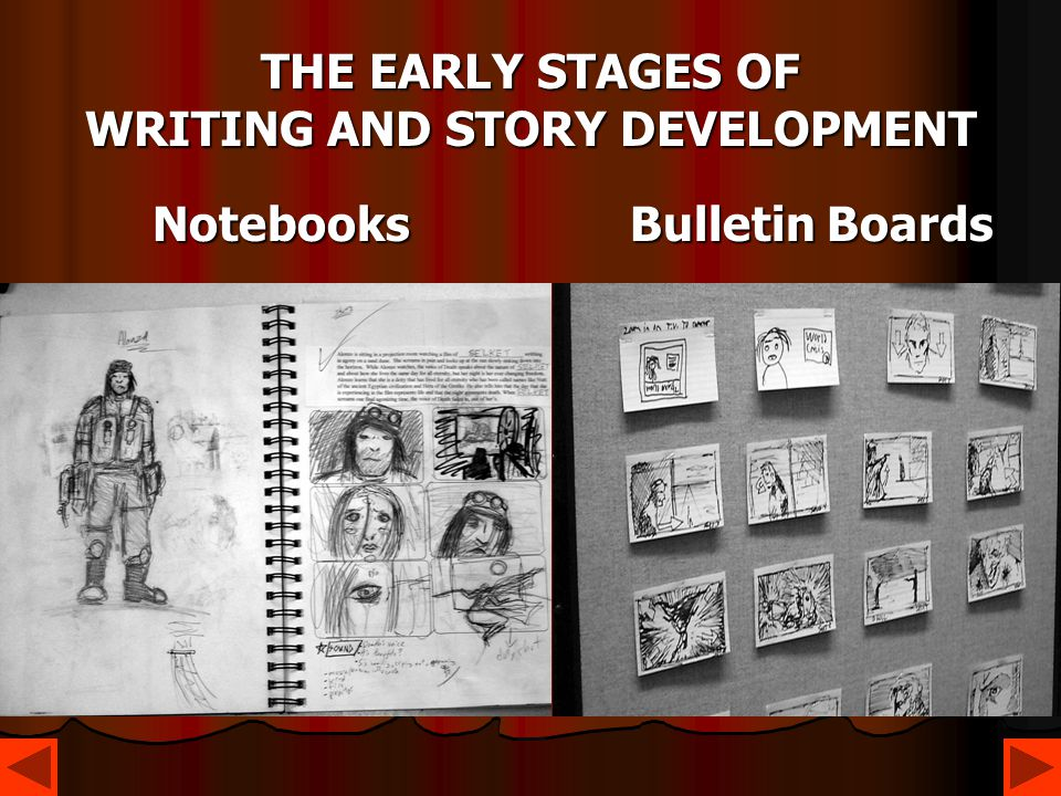 THE EARLY STAGES OF WRITING AND STORY DEVELOPMENT Notebooks Bulletin Boards Notebooks Bulletin Boards