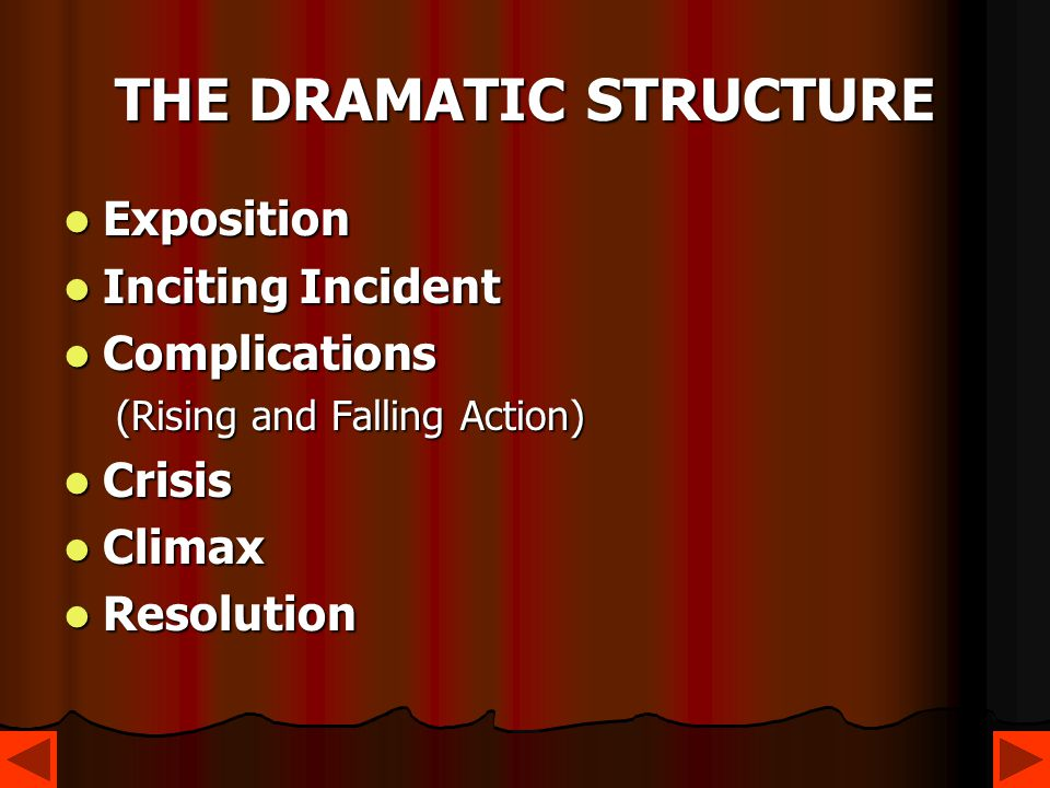 THE DRAMATIC STRUCTURE Exposition Exposition Inciting Incident Inciting Incident Complications Complications (Rising and Falling Action) Crisis Crisis