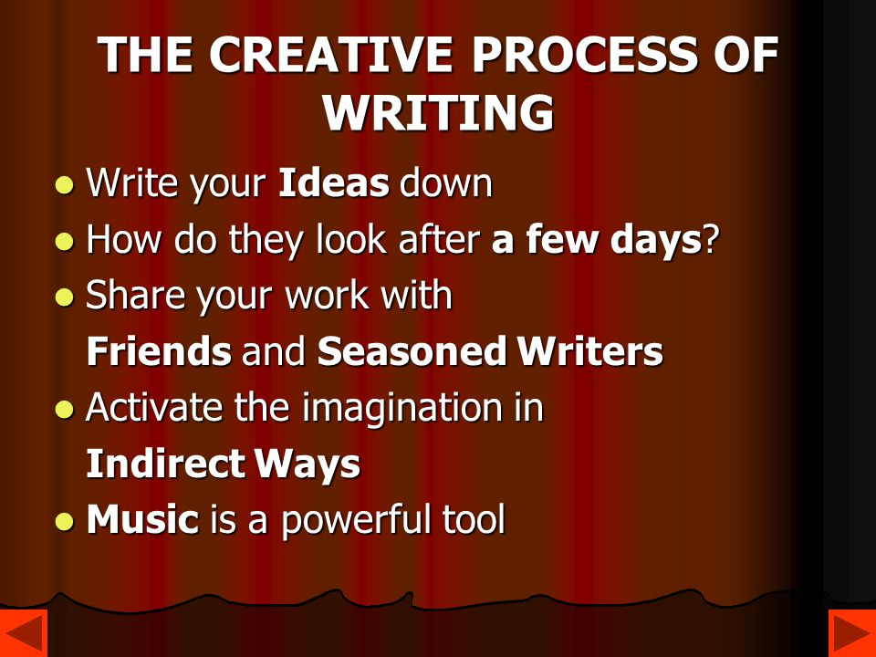THE CREATIVE PROCESS OF WRITING Write your Ideas down Write your Ideas down How do they look after a few days? How do they look after a few days? Shar
