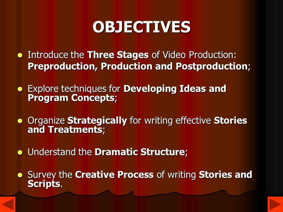 OBJECTIVES Introduce the Three Stages of Video Production: Introduce the Three Stages of Video Production: Preproduction, Production and Postproductio