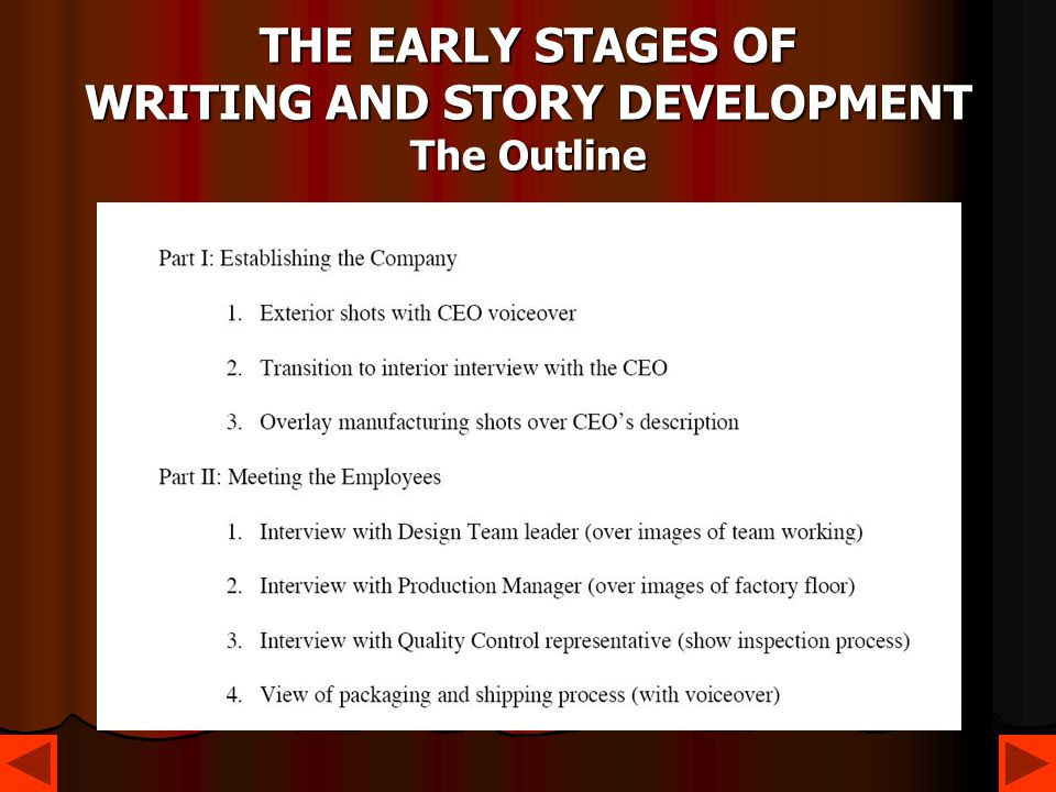 THE EARLY STAGES OF WRITING AND STORY DEVELOPMENT The Outline