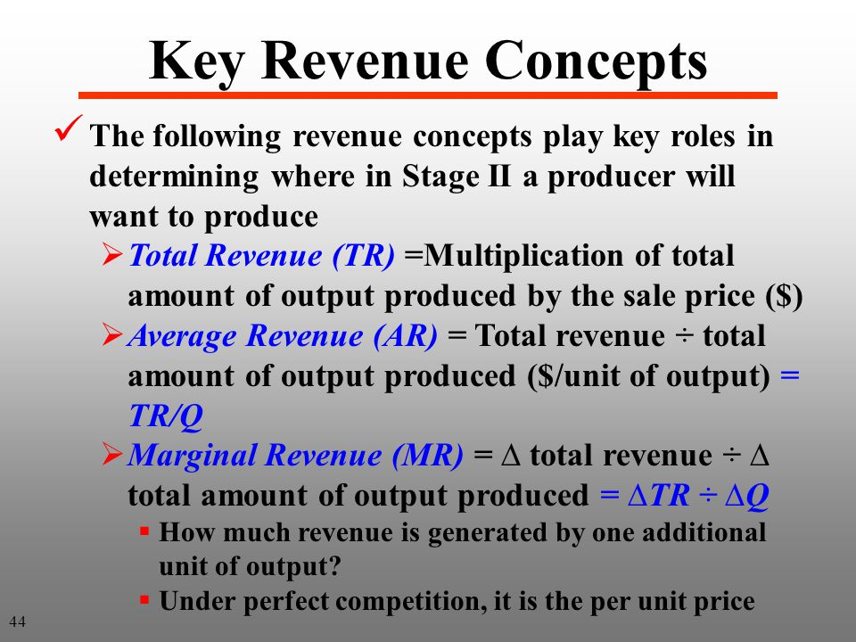 Key Revenue Concepts The following revenue concepts play key roles in determining where in Stage II a producer will want to produce  Total Revenue (TR) =Multiplication of total amount of output produced by the sale price ($)  Average Revenue (AR) = Total revenue ÷ total amount of output produced ($/unit of output) = TR/Q  Marginal Revenue (MR) = ∆ total revenue ÷ ∆ total amount of output produced = ∆TR ÷ ∆Q  How much revenue is generated by one additional unit of output.