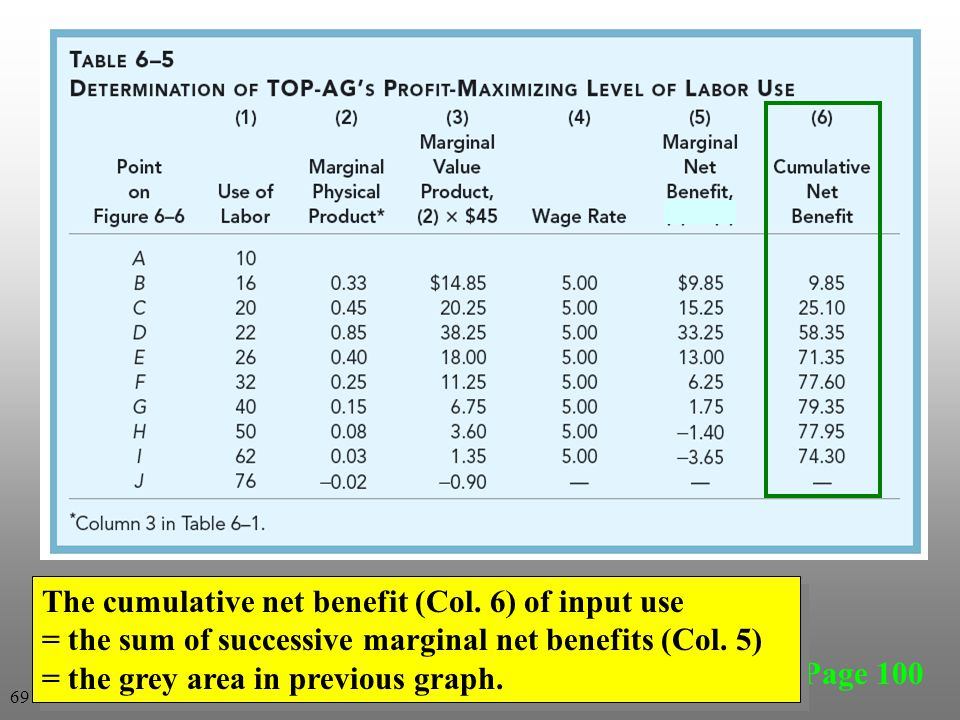 Page 100 The cumulative net benefit (Col.