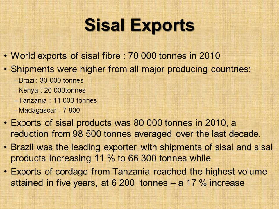 Sisal Exports World exports of sisal fibre : 70 000 tonnes in 2010 Shipments were higher from all major producing countries: –Brazil: 30 000 tonnes –K