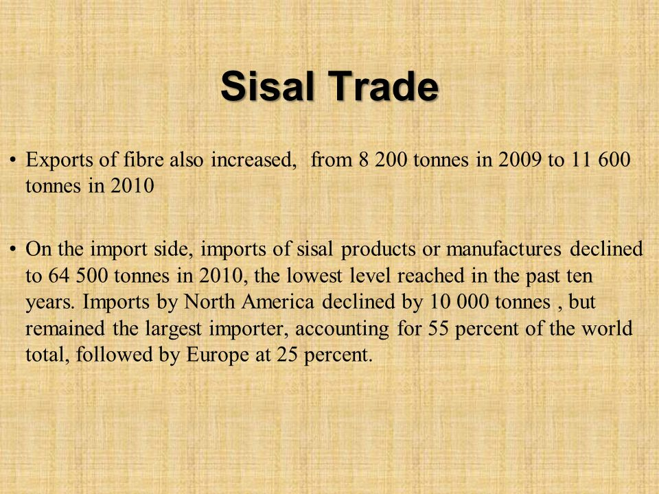 Sisal Trade Exports of fibre also increased, from 8 200 tonnes in 2009 to 11 600 tonnes in 2010 On the import side, imports of sisal products or manufactures declined to 64 500 tonnes in 2010, the lowest level reached in the past ten years.