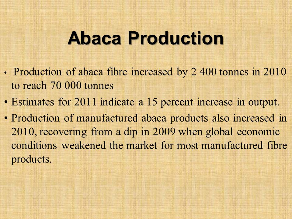Abaca Production Production of abaca fibre increased by 2 400 tonnes in 2010 to reach 70 000 tonnes Estimates for 2011 indicate a 15 percent increase