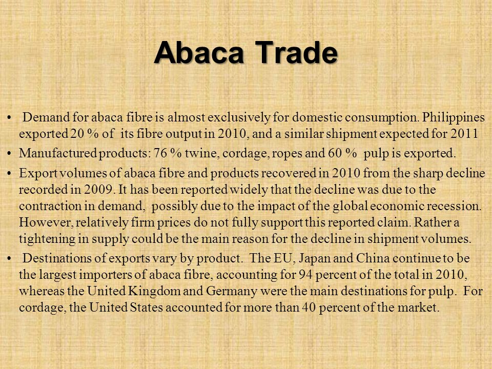 Abaca Trade Demand for abaca fibre is almost exclusively for domestic consumption. Philippines exported 20 % of its fibre output in 2010, and a simila