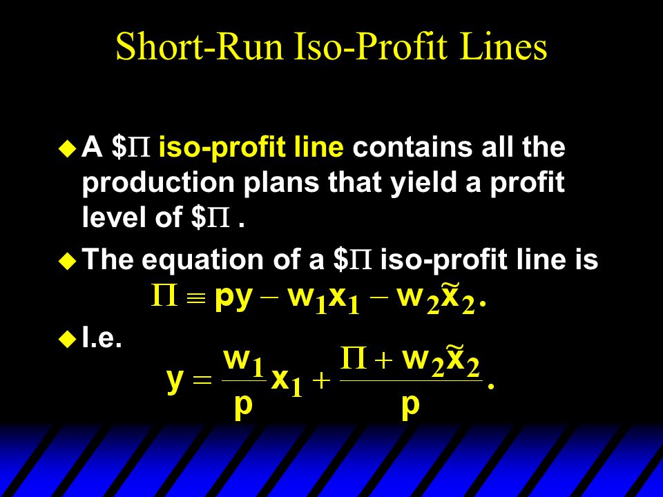 Short-Run Iso-Profit Lines  A $  iso-profit line contains all the production plans that yield a profit level of $ .  The equation of a $  iso-pr