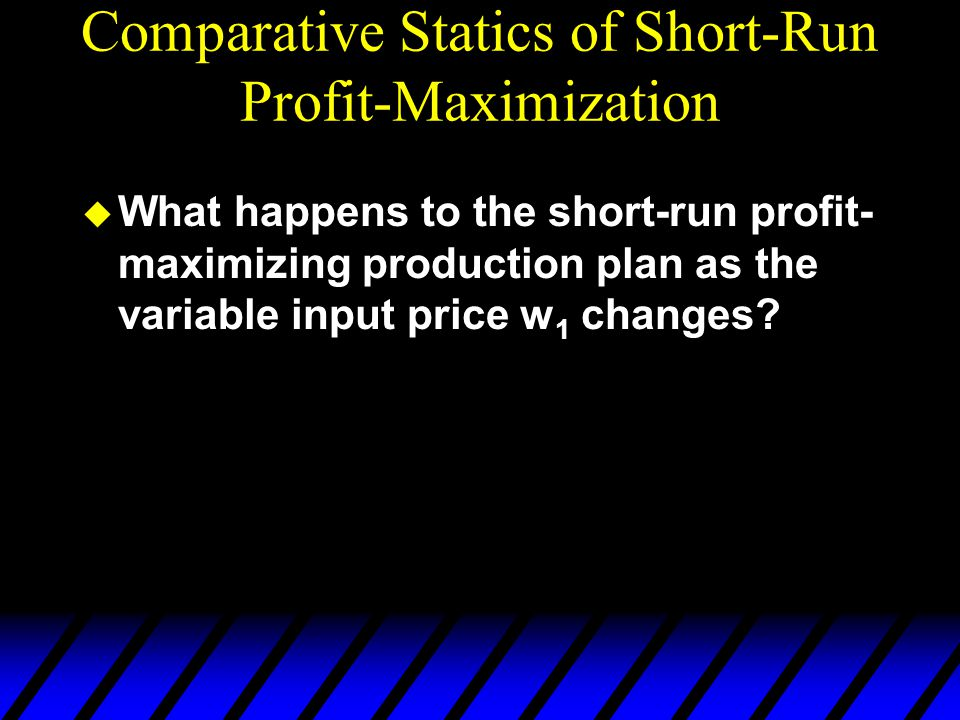 Comparative Statics of Short-Run Profit-Maximization u What happens to the short-run profit- maximizing production plan as the variable input price w