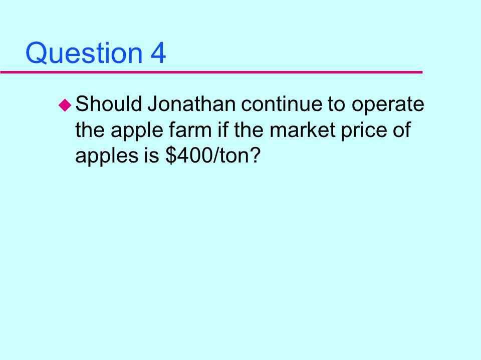 Question 3 u At a market price of $400/ton for apples, what is the optimal annual production of apples.