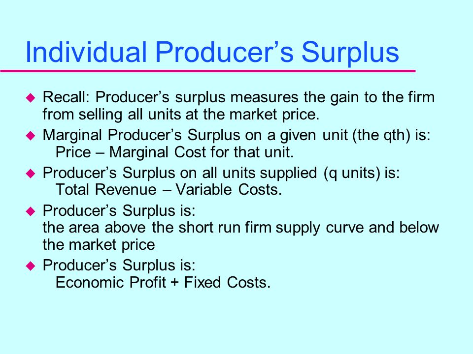 Jonathan's Short Run Supply Curve u So, in general, for a perfectly competitive firm, the srs firm = srmc firm for all points where srmc ≥ sravc (assu