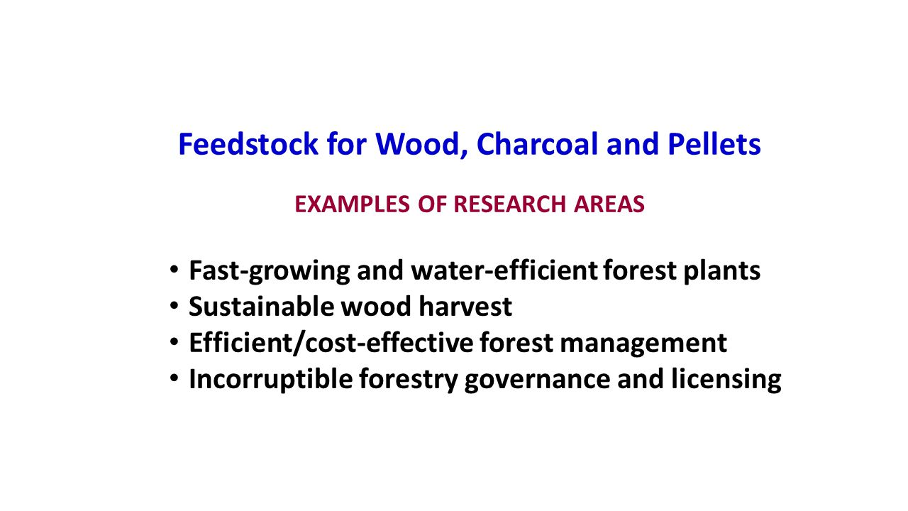 Feedstock for Wood, Charcoal and Pellets EXAMPLES OF RESEARCH AREAS Fast-growing and water-efficient forest plants Sustainable wood harvest Efficient/cost-effective forest management Incorruptible forestry governance and licensing
