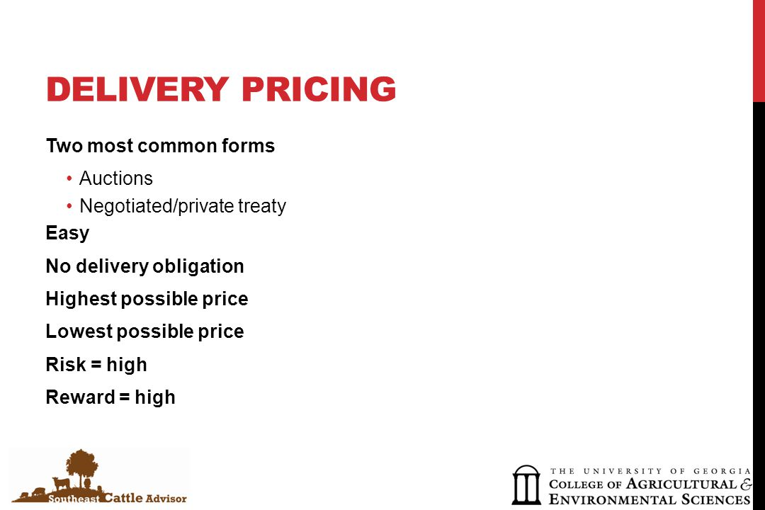 DELIVERY PRICING EXAMPLE