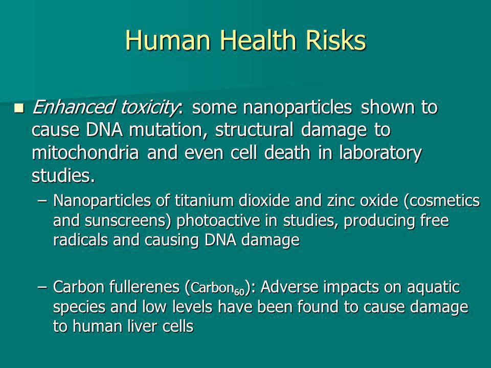Human Health Risks Enhanced toxicity: some nanoparticles shown to cause DNA mutation, structural damage to mitochondria and even cell death in laboratory studies.