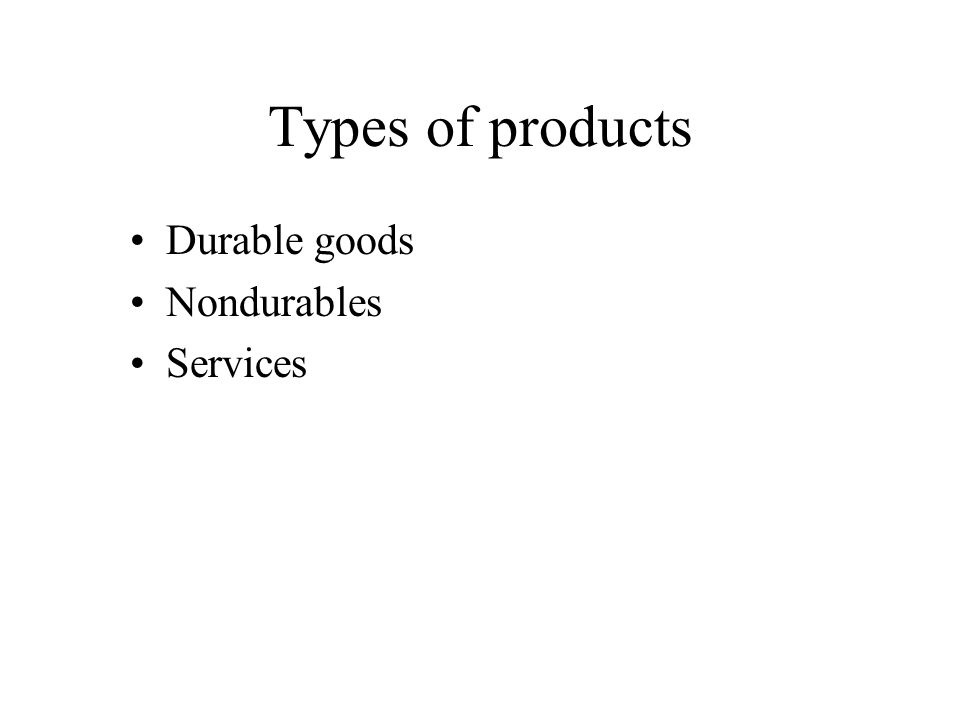 Types of products Durable goods Nondurables Services
